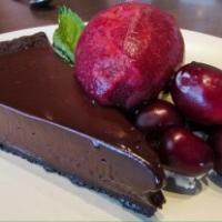 Dark chocolate & cherry tart w cherry sorbet & vanilla mascarpone.