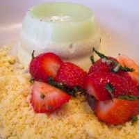 Mt. Compass strawberries, pistachio panna cotta & cookie crumbs.