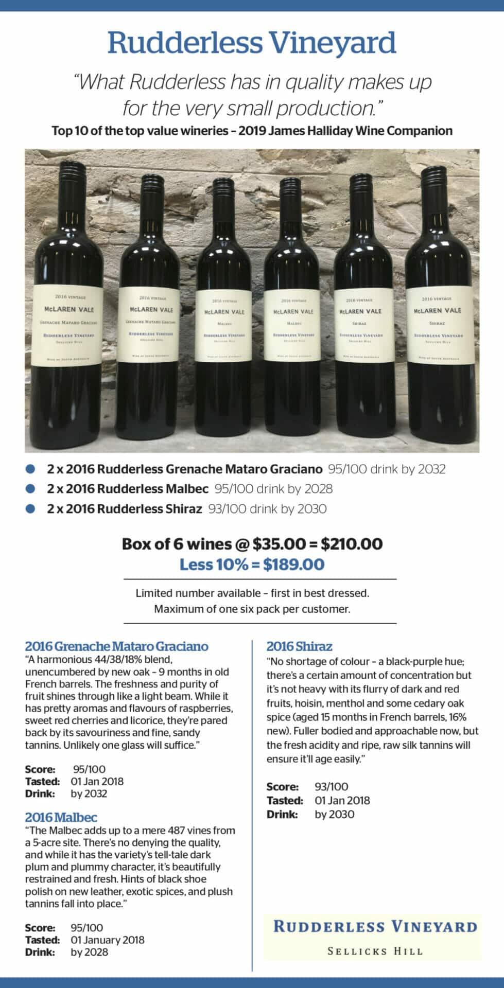 Rudderless 2016 Box of 6 wines