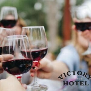 Victory Hotel red wine cheers